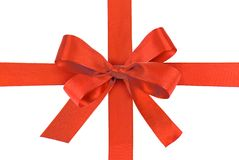 Ribbon Bow. Red Gift Ribbon Bow isolated on white background Royalty Free Stock Image