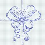 Ribbon bow. Blue hand drawn sketch on lined paper. Vector illustration Stock Image
