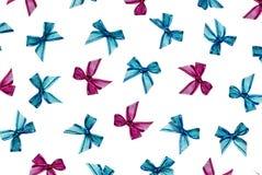 Ribbon bow cutout on white background stock photos