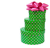 Ribbon bow on gift boxes with polka dots Royalty Free Stock Image
