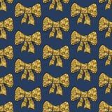 Ribbon bow Glitter gold banner seamless pattern royalty free illustration