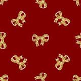 Ribbon bow Glitter gold banner seamless pattern vector illustration