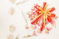 Ribbon bow with heart Stock Photos