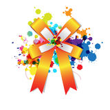 Ribbon bow on ink splash Royalty Free Stock Image