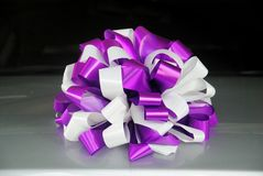 Ribbon bow. Purple and white ribbon bow Royalty Free Stock Images