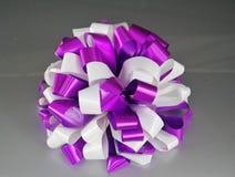 Ribbon bow. Purple and white ribbon bow Stock Photo