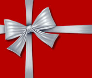 Ribbon bow red silver grey silk tape gift box chri Stock Photo