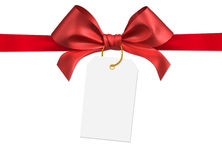 Ribbon bow. Red ribbon bow on white background Stock Photo