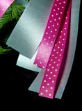 Ribbon bow silver and pink dot pattern at the beautiful flower bouquet. Ribbon bow, silver and pink dot pattern at the beautiful flower bouquet royalty free stock photography