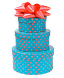 Ribbon bow on three gift boxes with polka dots Stock Image