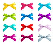 Ribbon bows. Red, pink, blue, gold - all colors collection Royalty Free Stock Image