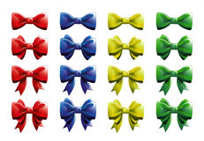 Ribbon bows - red, blue, yellow and green - all colors collection Royalty Free Stock Image