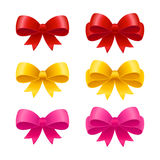 Ribbon bows set. Set of realistic ribbon bows, pink, golden and red. Gift packaging and holiday celebration design elements Stock Image