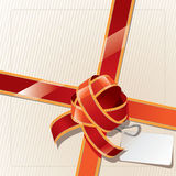 Ribbon box. Gift ribbon box and label Stock Photo
