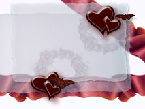 Ribbon, butterfly and hearts Royalty Free Stock Photo