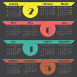 Ribbon 2015 calendar design. Colorful ribbon 2015 calendar design on dark background Royalty Free Stock Photo