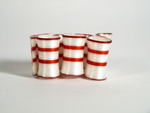 Ribbon Candy. Peppermint ribbon candy striped red and white Royalty Free Stock Image