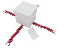 Ribbon and Card Gift Box Royalty Free Stock Image