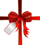 Ribbon with card tag Royalty Free Stock Image