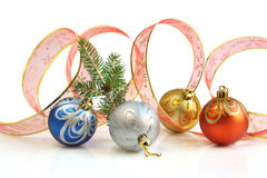 Ribbon and Christmas Balls Royalty Free Stock Photo