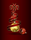 Ribbon and Christmas baubles Royalty Free Stock Photo