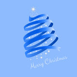 Ribbon Christmas Tree. Blue ribbon in the form of the Christmas tree with star and Merry Christmas greeting Royalty Free Illustration