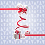 Ribbon christmas tree with a bow and gifts. Isolated with a white stroke and space for your text stock illustration