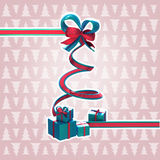 Ribbon christmas tree with a bow and gifts. Isolated with a white stroke and space for your text Stock Photos