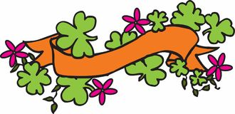 Ribbon with Clovers Royalty Free Stock Photography