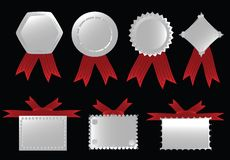 Ribbon collection. Silver ribbon collection, vector editable illustration Stock Photo