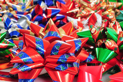 Ribbon collection. Collection of colorful Christmas or present ribbons Stock Photos