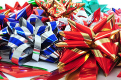 Ribbon collection. Collection of colorful Christmas or present ribbons Stock Image