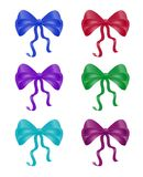Ribbon collection set of colorful bow knot silk ribbon for chris Stock Images