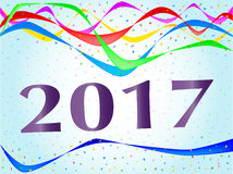 2017 Ribbon and Confetti Party. Multi coloured confetti and streamers with the text 2017 Stock Photography
