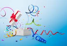 Ribbon And Confetti Popping Out From Gift Box Stock Images