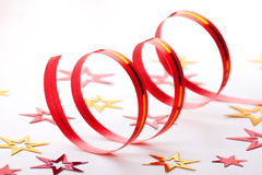 Ribbon and confetti on white background Stock Photos
