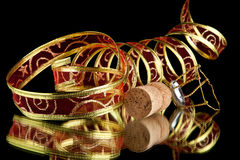 Ribbon and cork Stock Photography