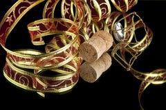 Ribbon and cork Stock Photo