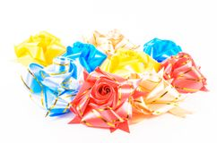 Ribbon craft on white background. Handmade royalty free stock photography