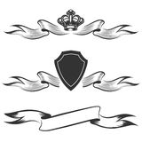 Ribbon, crown and shield banners set Stock Image