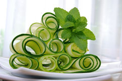 Ribbon cucumber salad with mint Royalty Free Stock Photo