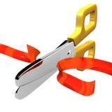 Ribbon Cut With Scissors Stock Photo
