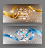 Ribbon cutting ceremony banners with curly satin ribbons and scissors. Vector illustration stock illustration