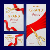 Ribbon cutting with scissors grand opening ceremony vector invitation cards, banners Royalty Free Stock Images