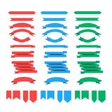 Ribbon set red blue green. Ribbon 3d set red blue green Royalty Free Stock Image