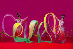 Ribbon dance. Dance: ribbons waving, good lucky for you Royalty Free Stock Photo