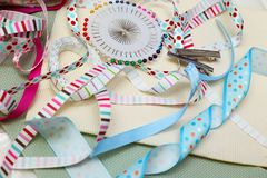 Ribbon with decoration. Scrapbook background. ribbon with decoration Stock Photography