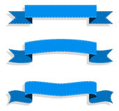 Ribbon design. Set of 3 Blue ribbon shape design with shadow Stock Photo