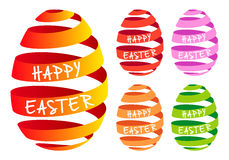 Ribbon Easter eggs, vector set. 3D ribbon Easter egg, set of vector design elements Royalty Free Stock Images