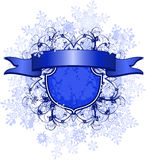 Ribbon, emblem & snowflakes Stock Photos